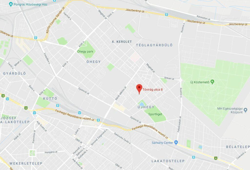 Kapcsolat - Trick or Treat angol és spanyol nyelviskola Budapest a térképen